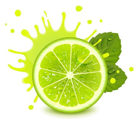 fresh lime with mint leaves and a splash of juice on a white background