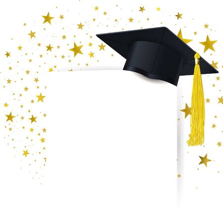 graduate cap with  diploma on a background of a whirlwind of gold stars Illustration