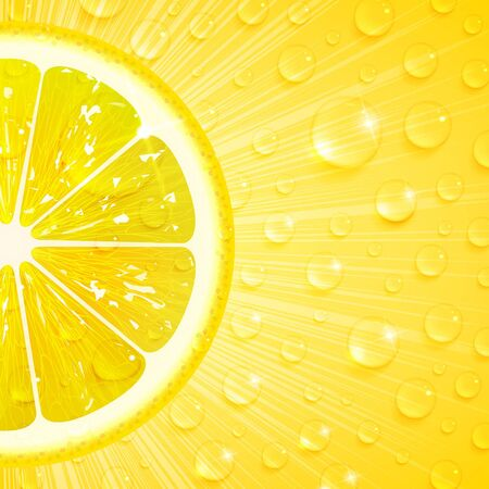juicy lemon background with water drops