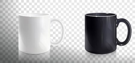 empty white and black mugs on a transparent background