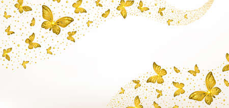 banner with decorative golden butterflies on a light background