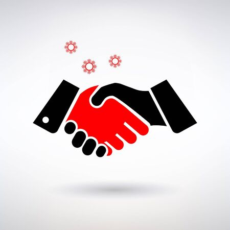 sign transmission of the virus through shaking hands on a light background Illustration