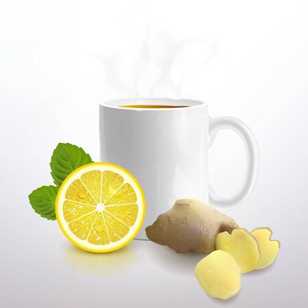 tea with lemon and ginger on a light background