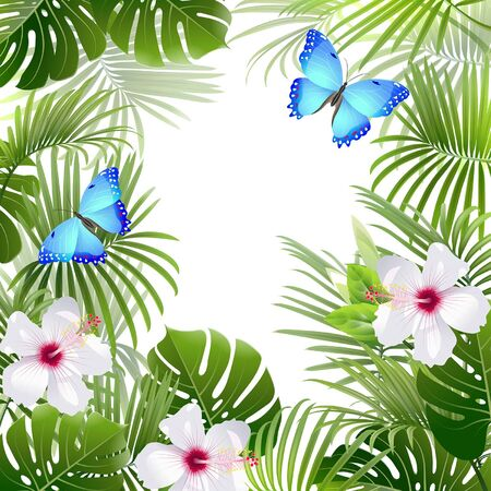 background with tropical plants and blue butterflies