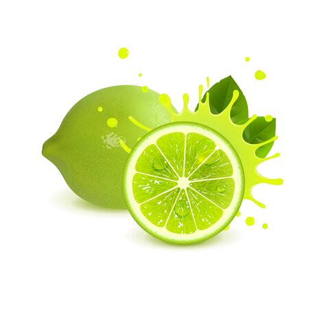 juicy whole lime and half lime on white background