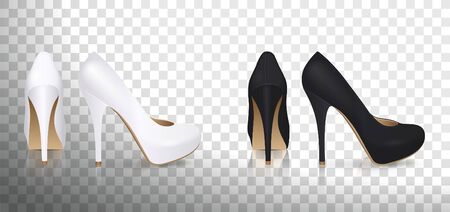 High-heeled shoes in white and black on a transparent background Illustration