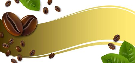Banner with coffee beans on a gold