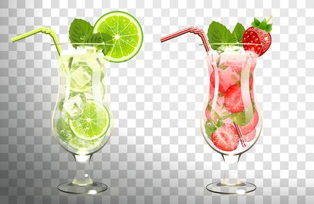 mojito cocktails lime and strawberries on a transparent background Illustration
