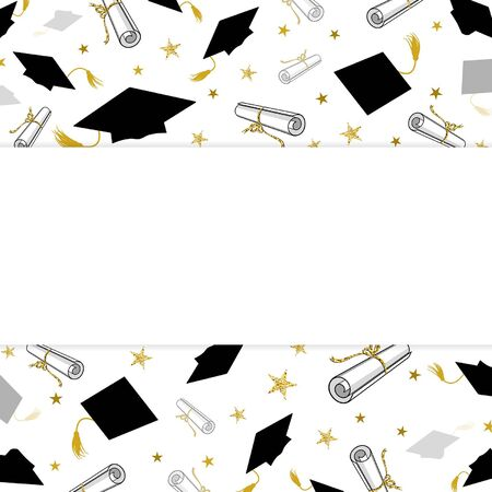 Graduation greeting banner with student caps and diplomas on white
