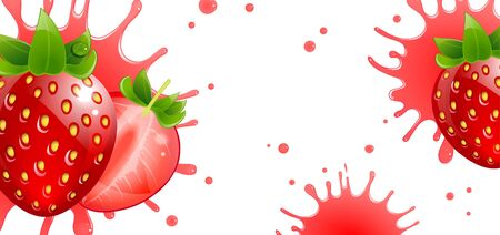 banner with fresh strawberries and splash juice on a white background