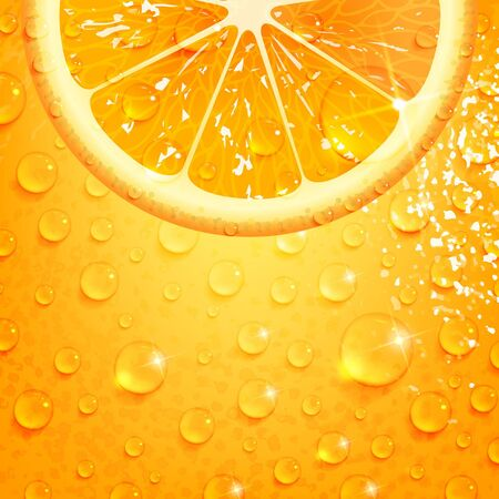 refreshing orange on a background of orange peel with drops of water
