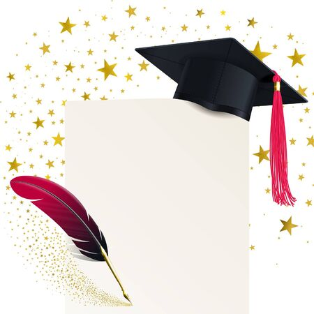 student hat with a red tassel and a diploma on a background of a swirl of gold stars Illustration