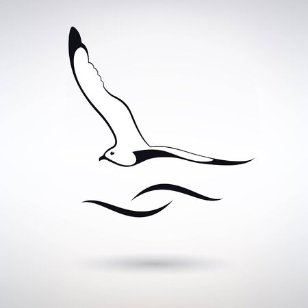 icon seagull on the background of waves on a light background