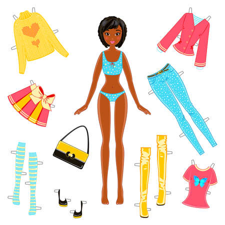 African American girl paper doll with a set of clothes on a white background