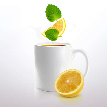 white mug of tea with mint and lemon on a light background Illustration