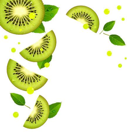 background of juicy kiwi slices and splashes of juice on a white background
