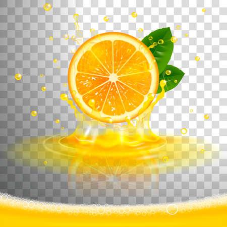 juicy orange with juice splash and squeezed juice foam on transparent background
