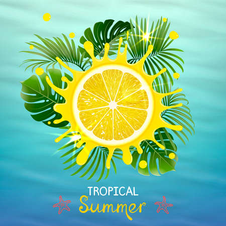 tropical background with juicy lemon on the blue sea background