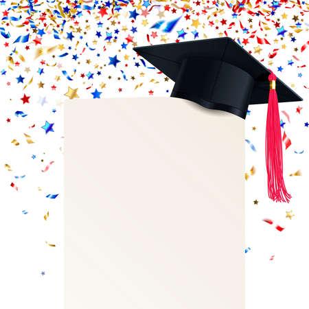 Graduate cap and  diploma with multicolored confetti on  white Illustration