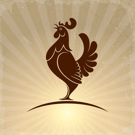 rooster symbol on a background of sunrise rays