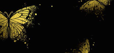 banner with golden  decorative butterflies on a black background Illustration