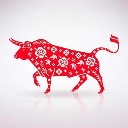 stylized bull symbol with a pattern on a light background