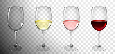 set of glasses with wine on transparent background