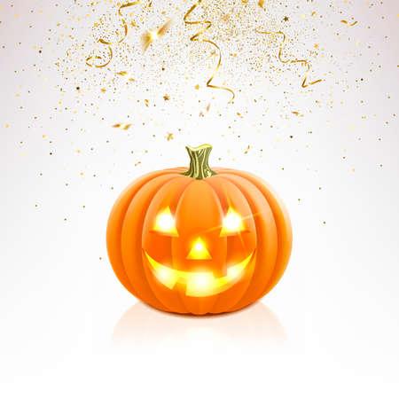 Halloween pumpkin and falling golden confetti on a light background
