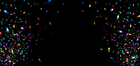 horizontal banner with multicolored shiny confetti on a black background