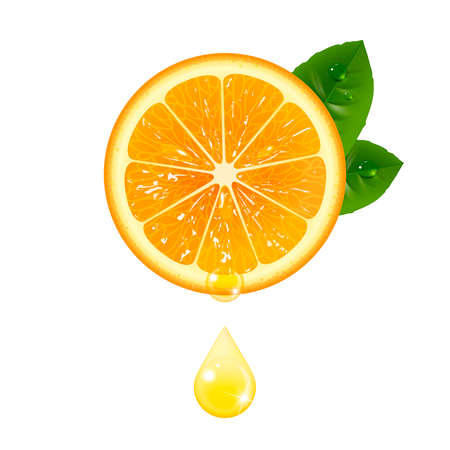 juicy orange with a drop of juice on a white background Illustration