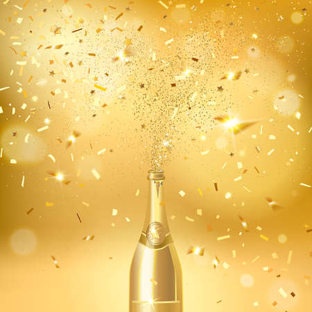 champagne bottle on a gold background with gold confetti
