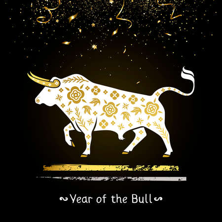 symbol of the year of the white bull with gold ornament and gold confetti Illustration