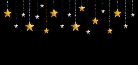 Christmas background with gold and silver stars on black background
