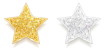 set of sparkling gold and silver stars on a white background