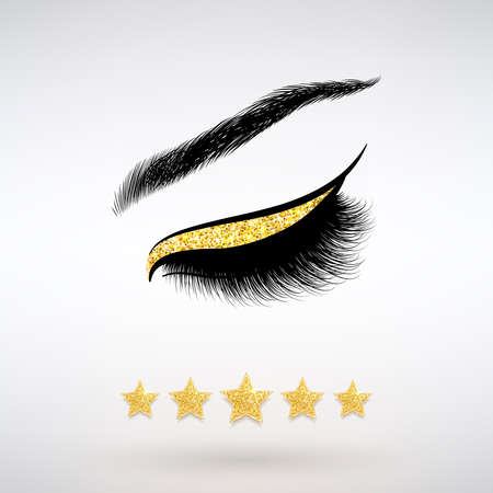 beautiful long eyelashes and five gold stars on a light background