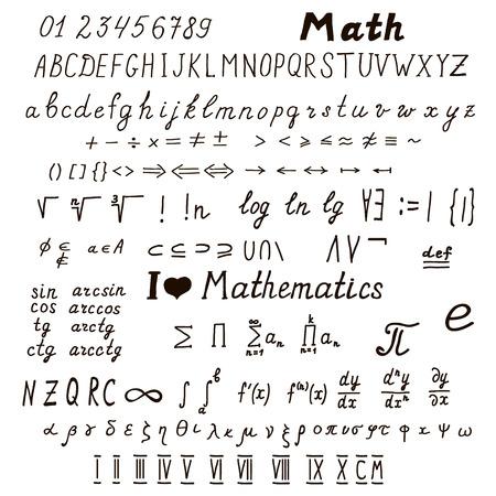 signos matematicos: Gran conjunto de signos y símbolos matemáticos dibujado a mano, alfabeto latino y griego, ilustración numerals.Vector romano