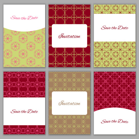bridal party: Set of beautiful vector card templates.Perfect for Save the Date,wedding, baby shower, birthday, bridal party and other invitations