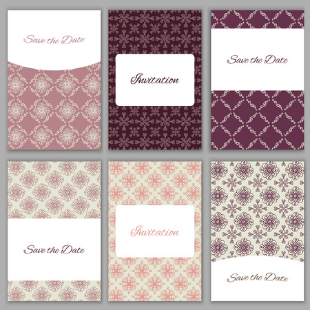 bridal party: Set of beautiful hand drawn vector card templates.Perfect for Save the Date,wedding, baby shower, birthday, bridal party and other invitations