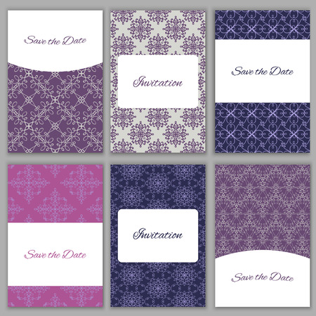 bridal party: Set of beautiful abstract vector card templates.Perfect for Save the Date,wedding, baby shower, birthday, bridal party and other invitations Illustration