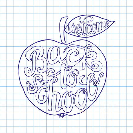 Welcome back to school hand-drawn lettering card with a blue ink apple.Vector illustration. Illustration