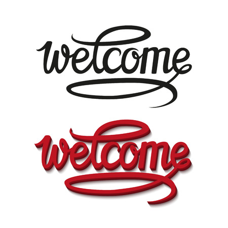 welcome: Welcome hand drawn lettering design.Calligraphic inscription.Vector typographical illustration