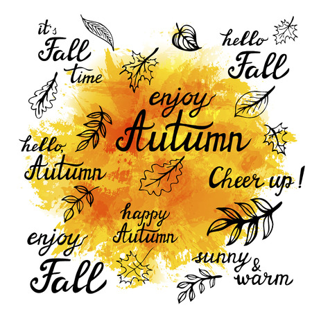 slogans: Set of hand-drawn autumn slogans and doodle leaves on abstract background.Vector illustration Illustration