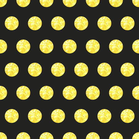spangle: Golden glitter polka dot seamless pattern on black background.Shiny vector texture. Illustration