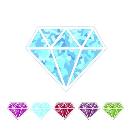 amethyst: Set of different colored gemstones.Diamond, ruby, emerald, amethyst, sapphire. Vector illustration. Illustration