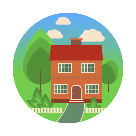 fense: Landscape with a cottage, trees, bushes, a fense and clouds in flat style. Vector illustration