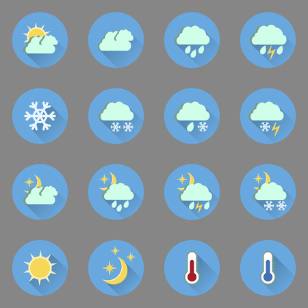 meteorological: Set of flat colored weather icons with long shadow.Vector illustration
