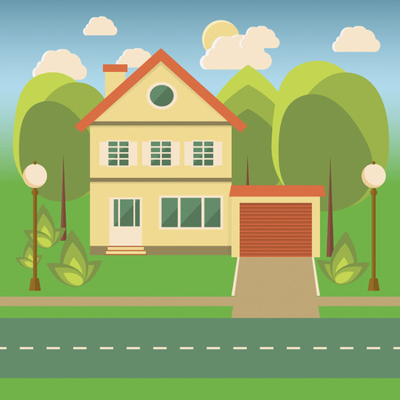 fense: Landscape with a cottage, trees, bushes, a fense, sun and clouds in flat style. Vector illustration Illustration