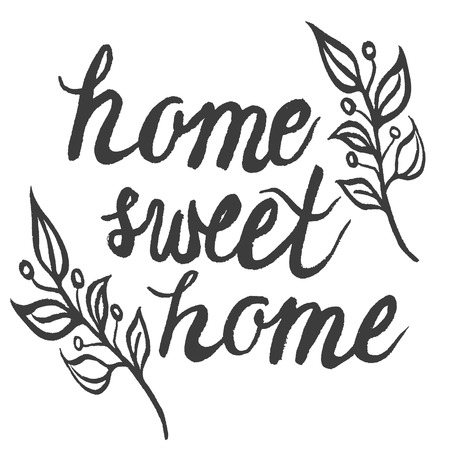 Hand drawn ink typography poster 'home sweet home'.For cards, posters, prints or home decorations.Vector illustration 矢量图像