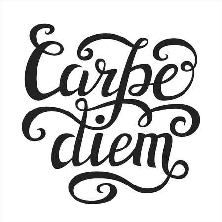 to seize: Hand lettering typography poster.Inspiratoinal quote Carpe diem latin translation: seize the day, capture the moment isolated on white.For t-shirts, posters, calendars, cards. Vector illustration Illustration