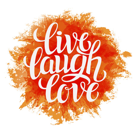 Hand drawn typography poster.Inspirational quote 'live laugh love'.For greeting cards, Valentine day, wedding, posters, prints or home decorations.Vector illustration Reklamní fotografie - 46481343